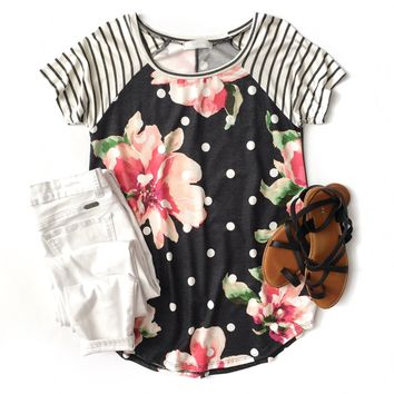 Charcoal Polka Dot Floral Top with Striped Sleeves