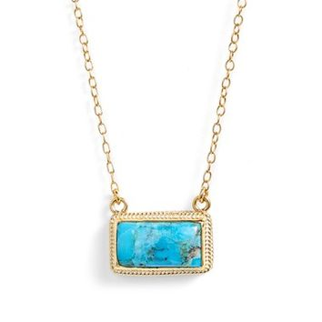 Women's Anna Beck 'Turquoise & Lapis' Small Rectangle Pendant Necklace - Gold/