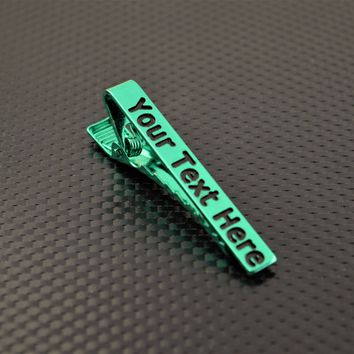 Personalized Green Tie Bar, Wedding Gift, Groomsmen Gift, Father's Day, and Graduation Gift