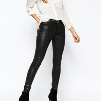 Warehouse Leather Look Coated Jeans