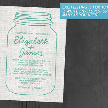 Turquoise Rustic Burlap Mason Jar Wedding Invitations | Invites | Invitation Cards