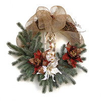 Nativity Wreath, Christmas Wreath, Jesus Wreath, Winter Wreath, Front Door Wreath,Outdoor Christmas Wreath,Christmas Door Decor,Burlap Bow