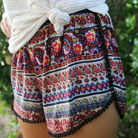 Mia Multiprint Crochet Pom Pom Trim Red Shorts