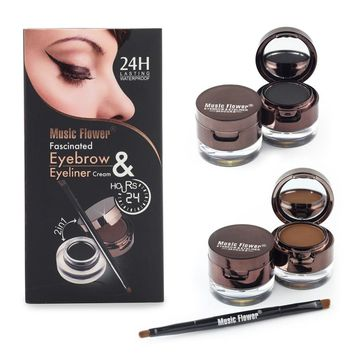 Music Flower Brand Brown + Black Gel Eyeliner Eyebrow Powder Makeup Set Kit Waterproof Long Lasting Eye Liner Eye Brow Cosmetics