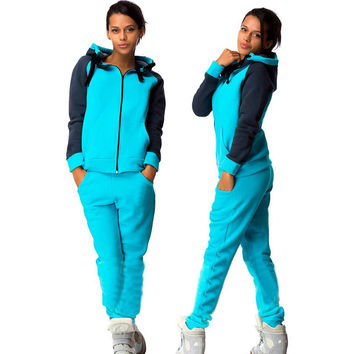 Hooded Zipper Blouse Drawstring Straight Pant Thick Activewear Set