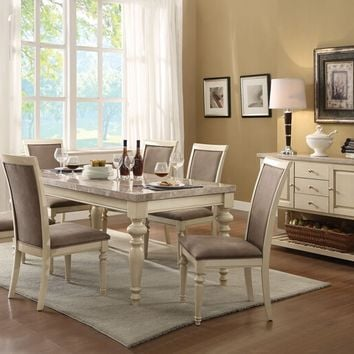 7 pc Ryder collection antique white finish wood and white marble top dining table set