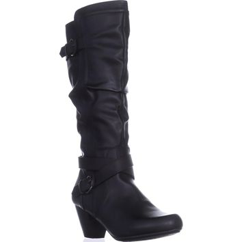 Rialto Crystal Knee High Slouch Boots, Black, 11 US