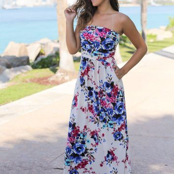 Cream Strapless Floral Maxi Dress with Pockets
