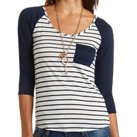 Striped Baseball Tee by Charlotte Russe - Navy Combo