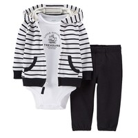 Carter's Stripe Hooded French Terry Cardigan Set - Baby Boy, Size: