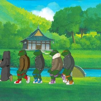 Teenage Mutant Ninja Turtles - Hand Painted Production Animation with it's Paired Full Color Background by Murakami-Wolf-Swenson Studios