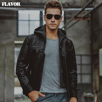 Men's real leather jacket motorcycle Hooded hat double closure Genuine Leather jackets