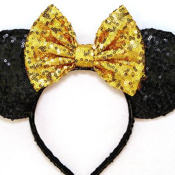 Black Sequin Ears and Gold Bow