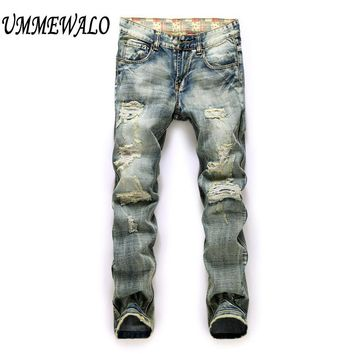 Men Brand Designer Vintage Repaired Distressed Jeans Men's Straight Slim Ripped Hole Denim Jeans Patchwork Jeans