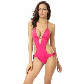 PEAPNH Deep V Solid Color Halter One Piece Swimsuit