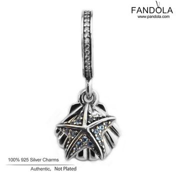Pandulaso Diy Beads 925 Sterling Silver Tropical Starfish & Sea Shell Dangle Women Charms Beads for Jewelry Making