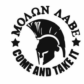 Molon Labe Spartan Helmet come and take it Adhesive Decal Sticker Vinyl Decorative for Wall Car Auto Ipad Macbook Laptop