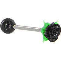 Black Silicone ROSE Barbell Tongue Ring | Body Candy Body Jewelry