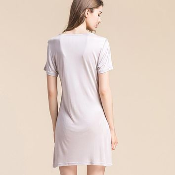 100% pure Silk Double Knit Short Sleeved Nightgown Loose Women Size Silk Petticoat Backing