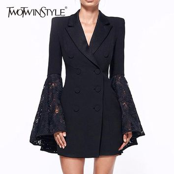 TWOTWINSTYLE Lace Coat For Women Hollow Out Flare Sleeve V Neck Double Breadsted Tunic Plus Size Blazer Spring Fashion New