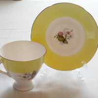 Fine Bone China Yellow Cup and Saucer by Elizabeth Han bone china tea cup and saucer  timelesspeony