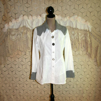 Western Boho Shirt White Gray Long Sleeve Button Up Blouse Medium Fitted Cowgirl Lace Rhinestone Buttons Patchwork Cotton Womens Clothing