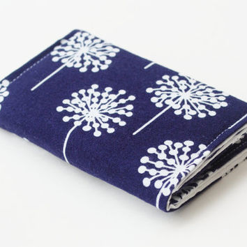 Navy Business Card Holder,  Fabric Credit Card Case With White Dandelions