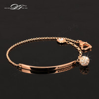 OL Style CZ Diamond Ball Fashion Party Charm Bracelets & Bangles 18K Rose Gold Plated Crystal Jewelry For Women pulseras DFH196