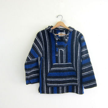 Vintage 90s Baja Hoodie. Hooded Pullover. Knit Boho Jacket. Blue White Black.