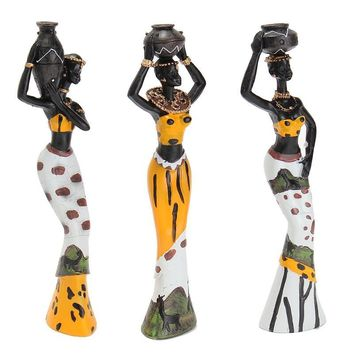 Newest 3PCS African Lady With Vase Ornament Ethnic Statue Sculptures National Culture Table Adornments Figurine Home Desk Decor