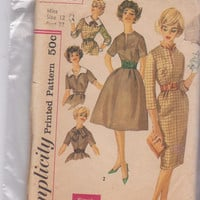 50s vintage pattern fitted dress with straight or full skirt + detachable collars misses size 12 bust 32 Simplicity 3153 CUT and COMPLETE