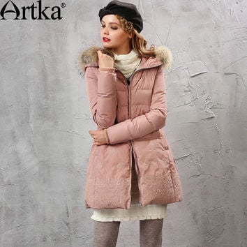 Artka Women's Winter New 2 Colors Embroidery Down Coat Vintage Hoodie Long Sleeve Casual Warm Outerwear ZK10157D