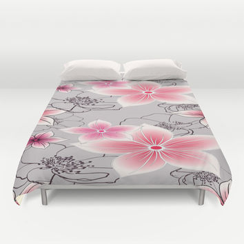 Pink Floral On Grey Duvet Cover by ALLY COXON | Society6