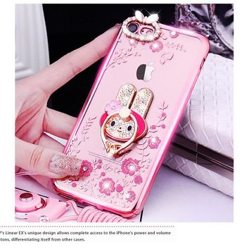 New Luxury Secret Garden Flowers Rhinestone Cell Phone Cases For iphone 7 Plus 6 6S 5  Plating Ring Cover