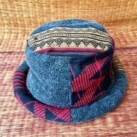Boho Bucket Hat Hippie Style Stonewashed Fabric Tribal Bohemian design Roll brim Hipster hat Festival Vegan Gypsy gift men women unique