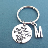 Personalized, Letter, Initial, May the force be with you, Star wars, Key chain, Yoda, Key ring, Gift, Accessory