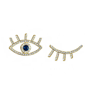 Evil Eye Diamond Ear Crawlers, Ear Climber,  Gold Earrings With Blue Sapphire, 14K solid gold.
