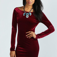 Jessica Scoop Back Velvet Midi Dress
