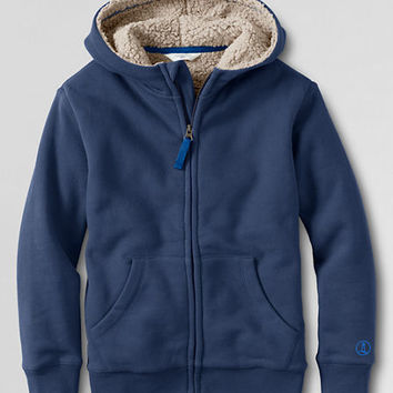 Boys' Long Sleeve Fleece Sherpa Hoodie from Lands' End