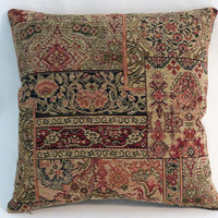 """Carpet Style Tapestry Pillow, 17"""" Sq, Tan, Green, Red, Orange, Navy Blue, Vintage Look Chenille, Cover Only or Insert Included"""