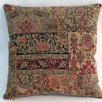 "Carpet Style Tapestry Pillow, 17"" Sq, Tan, Green, Red, Orange, Navy Blue, Vintage Look Chenille, Cover Only or Insert Included"