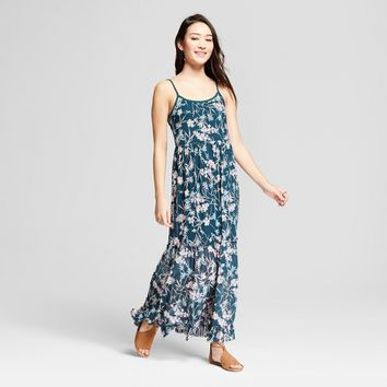 Women's Floral Print Mesh Maxi Dress - Xhilaration™ Green