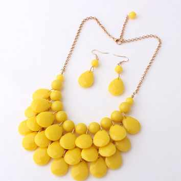 Yellow Statement Bubble Necklace,Tear Drop Bib Jewelry Set,Bridal Party/Holiday Necklace, Wedding Gift, Free Gift Packaging Available