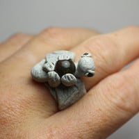 Dragon Ring Stone with fancy Jasper Adjustable Band Polymer Clay