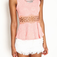 CROCHET WAIST PEPLUM TOP