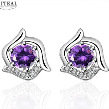 Silver Plated Floral Stud Earrings With Purple Cubic Zirconia #112
