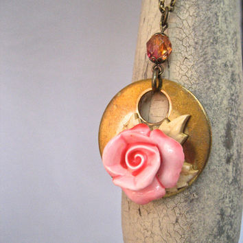 Tarnished Rose Brass Necklace - Pink - Shabby Vintage Up-Cycled Assemblage Necklace