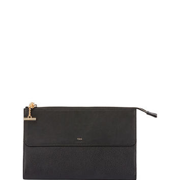 Chloe Joe Flat Grained Leather Clutch Bag
