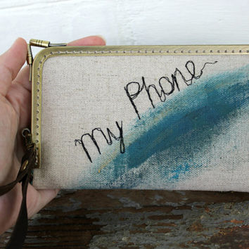 Geometric IPhone 6 Wallet Wristlet Fabric Linen Free Motion Embroidery My Phone Case Hand Painted Blue Rustic Samsung Galaxy Personalized