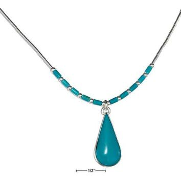 "Sterling Silver 16"" Simulated Turquoise Teardrop Necklace On Liquid Silver With Heishi"